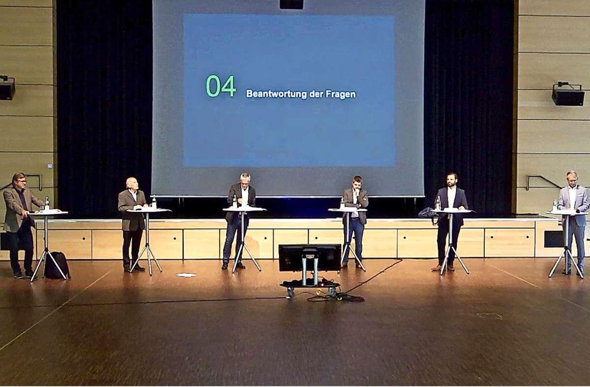 Sie waren die Redner im Bürgerhaus: Thomas Friedemann, Eckart Rosenberger, Peter Mauch, Benedikt Paulowitsch, Markus Lämmle und Dirk Braune (von links) stellten sich online den Fragen von Bürgern, die zu Hause am Bildschirm saßen. Screenshot: Roland Böckeler