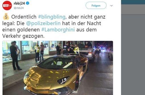 Polizei zieht goldenen Lamborghini aus dem Verkehr