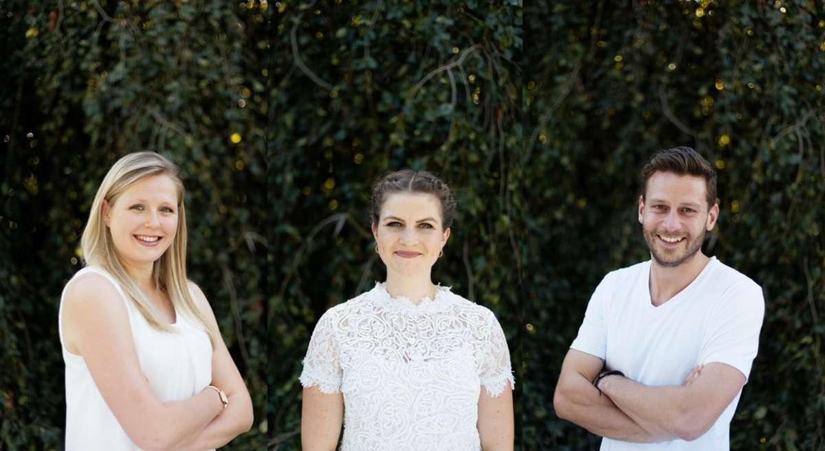 Die Gründer der Zero Bullshit Company (v. links) Lisa Berger, Sandra Ebert und Pascal Moll. Foto: ZBS