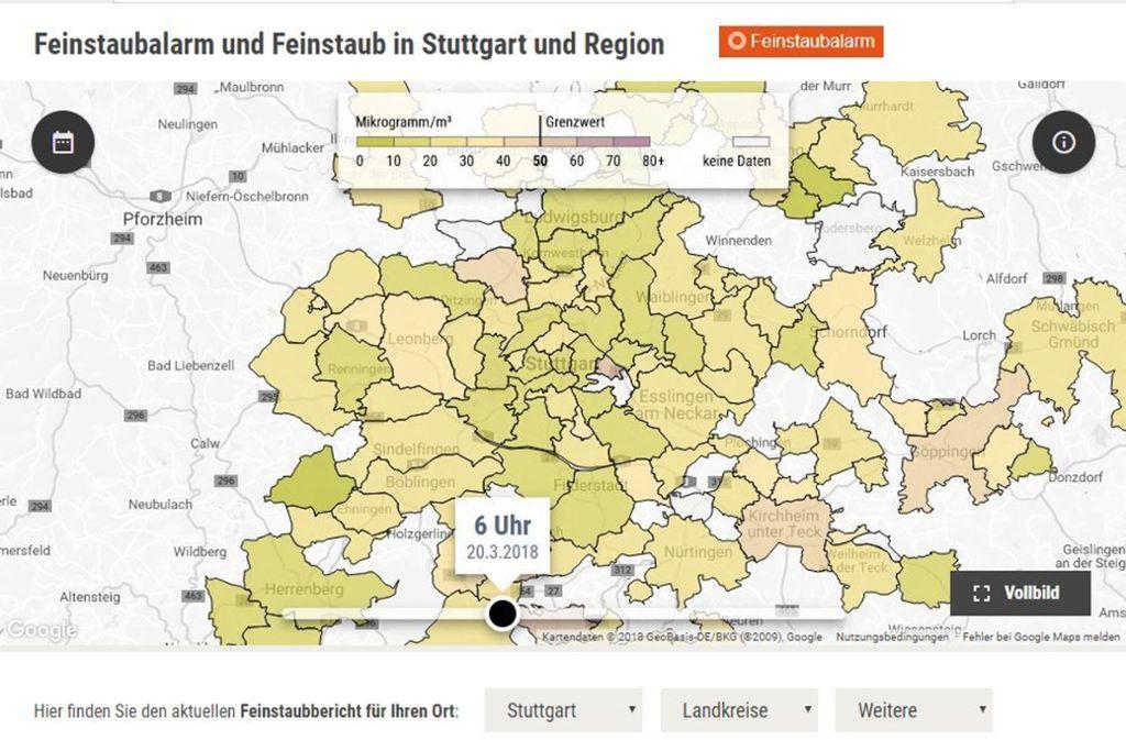 Das Feinstaubradar informiert live über die aktuelle Luftqualität in der Region Stuttgart. Foto: StZN