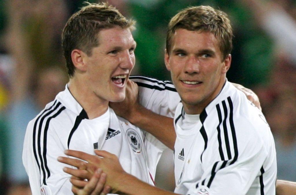 Prägende Figuren einer großen DFB-Ära: Lukas Podolski (re.), Bastian Schweinsteiger Foto: dpa