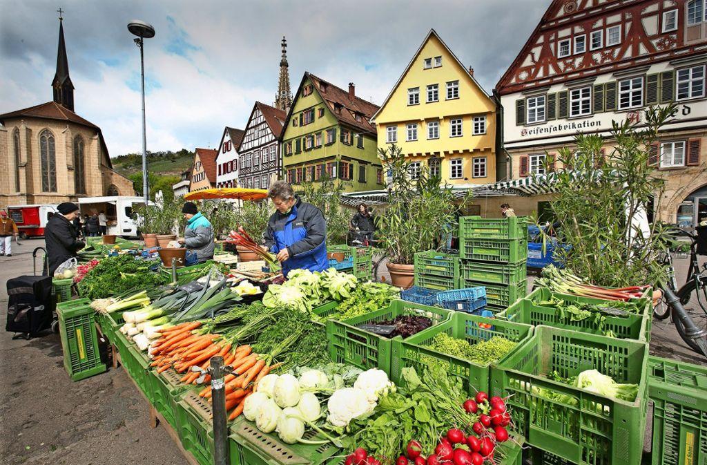 Der Esslinger Wochenmarkt hat eine Tradition bis ins Jahr 866. Bei Wind und Wetter stehen die  Händler am Marktplatz und bieten Lebensmittel an. Foto: Horst Rudel