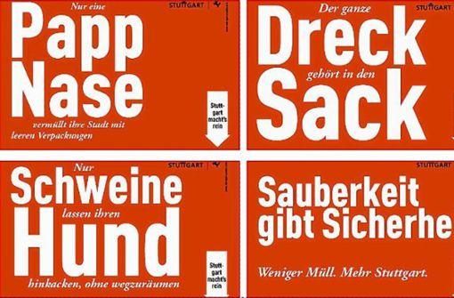 """Plakate gegen """"Drecksäcke"""" in der Stadt"""