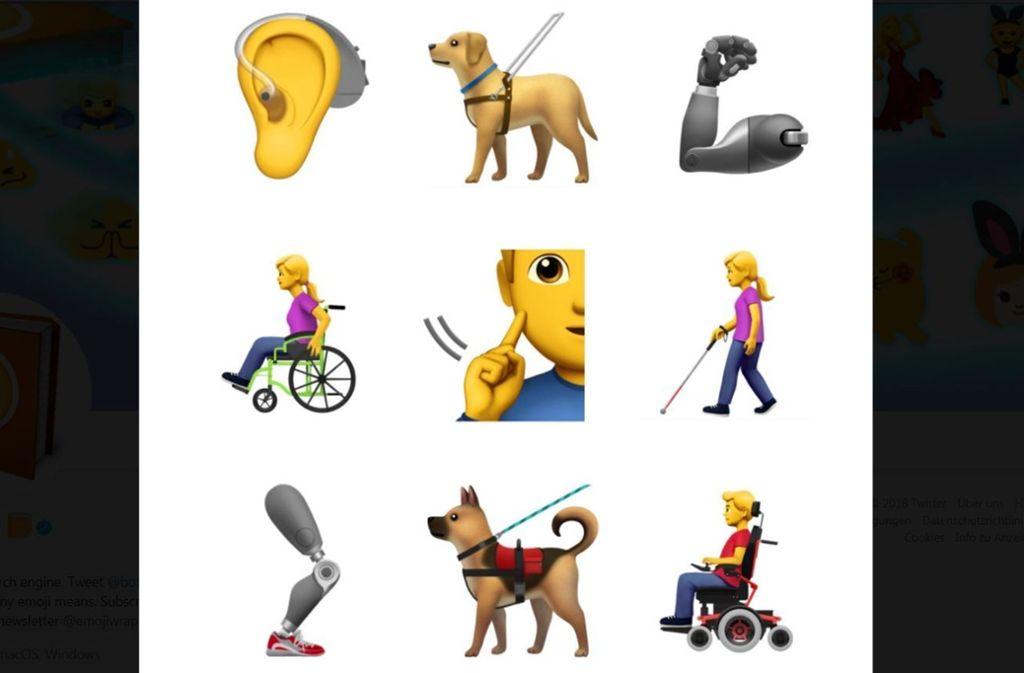 Mit neun neuen Symbolen möchte Apple erreichen, dass Menschen mit Handicap mehr in der Gesellschaft repräsentiert werden.  Screenshot:Twitter/@Emojipedia Foto: