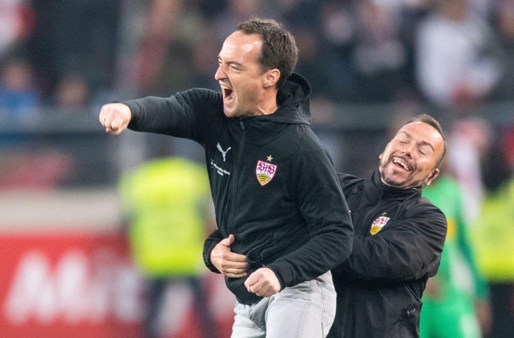 Jubel bei Nico Willig und dem VfB Stuttgart – 1:0 gegen Borussia Mönchengladbach. Foto: dpa