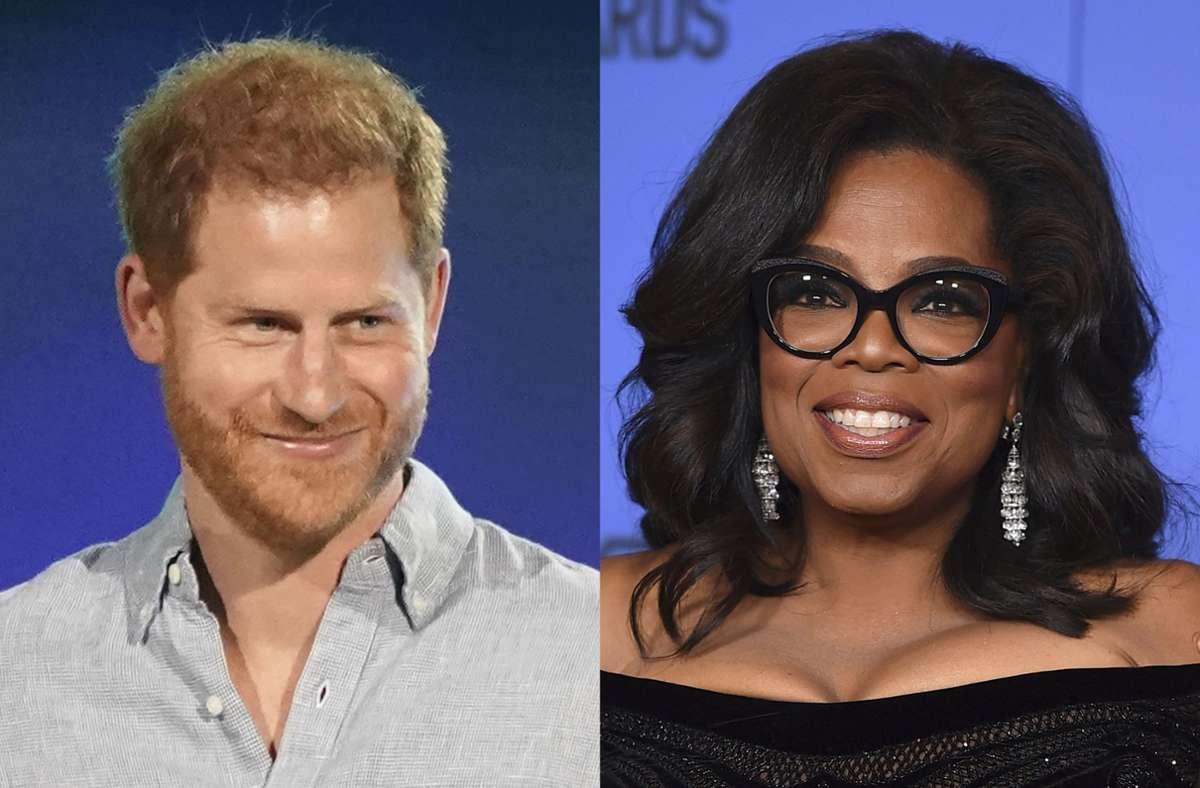 Prinz Harry und US-Moderatorin Oprah Winfrey wollen berühmte Gäste in ihre Serie einladen. (Archivbild) Foto: dpa/Uncredited