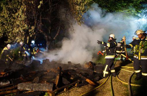 Holzstapel in Flammen
