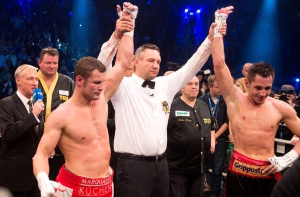 Die Punktrichter werteten den Kampf zwischen Felix Sturm und Robert Stieglitz in der Stuttgarter Porsche-Arena unentschieden. Foto: dpa