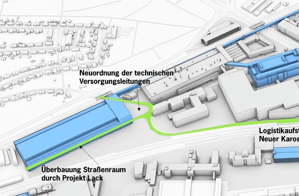 Die Otto-Dürr-Straße ist grün eingezeichnet. Links (blaues Gebäude) soll   ein  Lackierwerk für das Elektroauto gebaut werden, dessen Karosserie  in dem rechten oberen blauen Gebäude produziert wird. Das Parkhaus von Werk 4 (blau, rechts unten) wird erweitert. Foto: Porsche AG