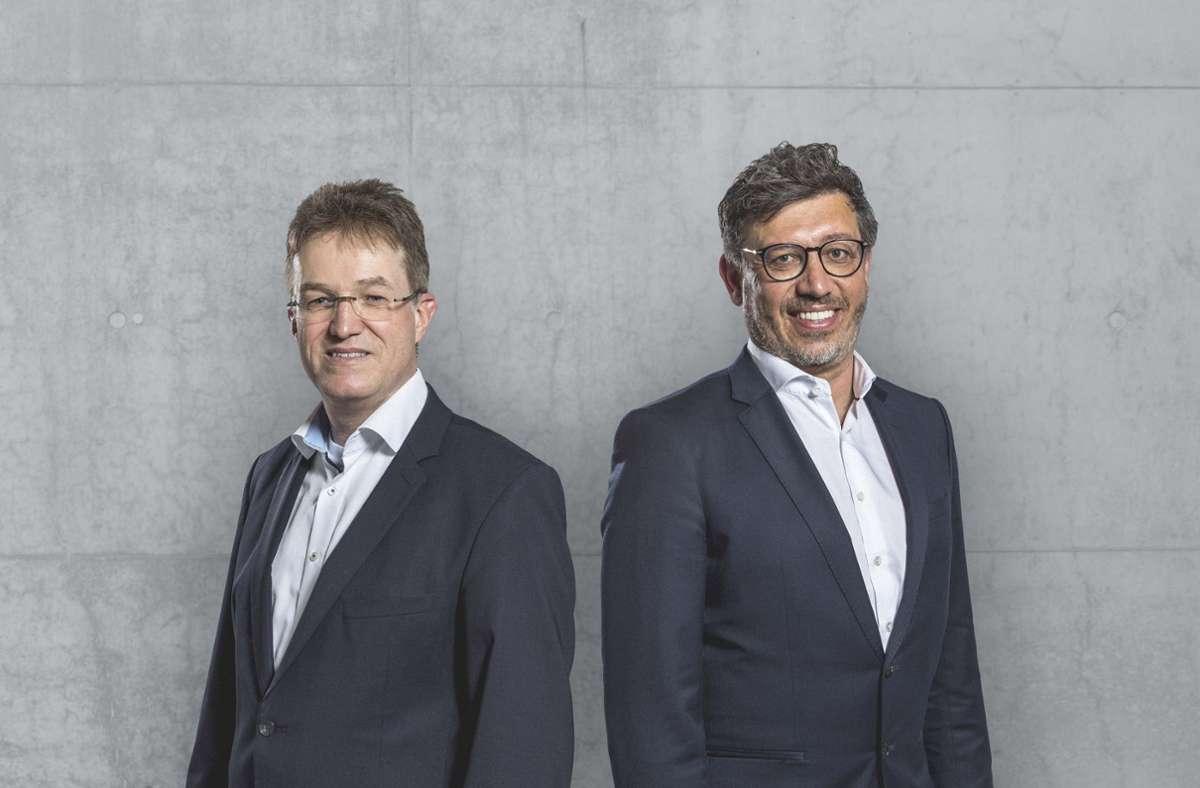 Claus Vogt (rechts) und Pierre-Enric Steiger kandidieren beim VfB Stuttgart. Foto: VfB Stuttgart