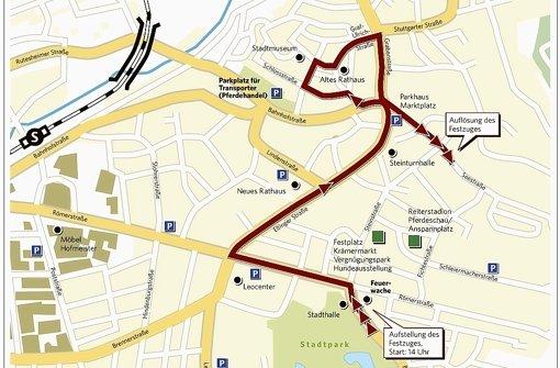 Der Plan für den großen Umzug morgen in Leonberg. Foto: LKZ
