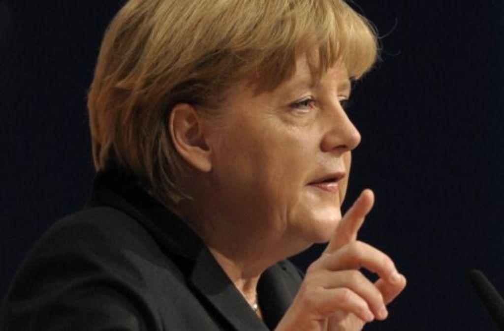 Bundeskanzlerin Angela Merkel (CDU) spricht in Leipzig auf dem 24. Bundesparteitag der CDU. Foto: dapd