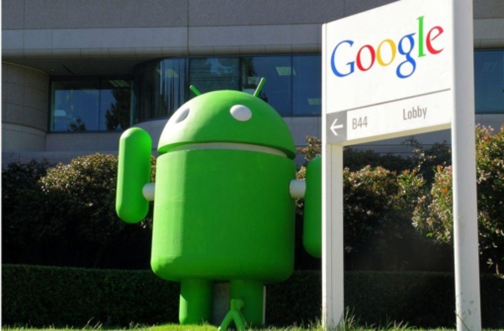Das Android-Männchen bewacht den Eingang zu Googles Hauptquartier. Foto: dpa