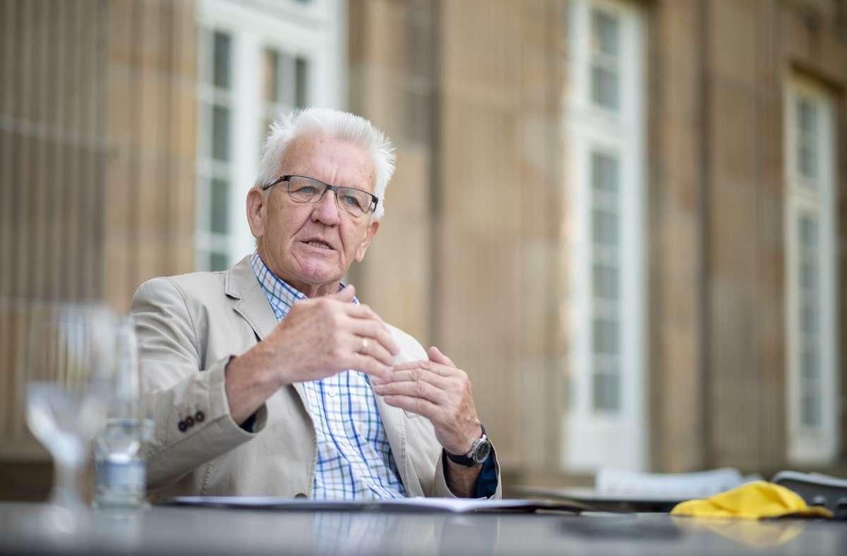 """Angesprochen auf Konflikte mit seiner Partei, sagt Winfried Kretschmann: """"Ich finde, das ist nur gefühlt so. Foto: dpa/Sebastian Gollnow"""