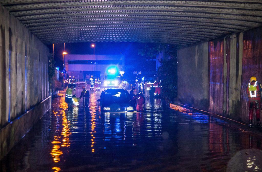 Die Unterführung beim Bahnhof in Schwäbisch Gmünd wurde bei der Sturzflut 2016 zur tödlichen Falle für einen jungen Mann und einen Feuerwehrmann, der ihn retten wollte. Foto: dpa