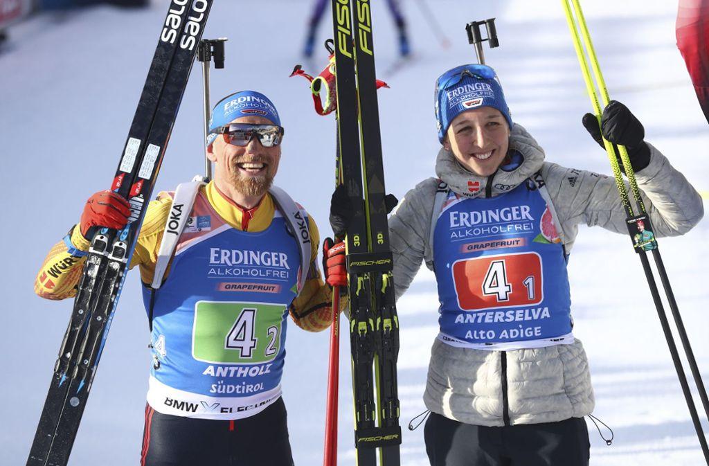 Strahlende Zweite: Erik Lesser und Franziska Preuß Foto: AP/Matthias Schrader