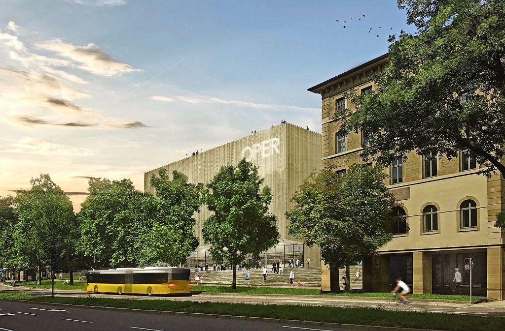 So könnte die Stuttgarter Interimsoper am Rotebühlplatz nach den Vorstellungen des Büros Bottega und Erhardt aussehen. Foto: Bottega und Erhardt