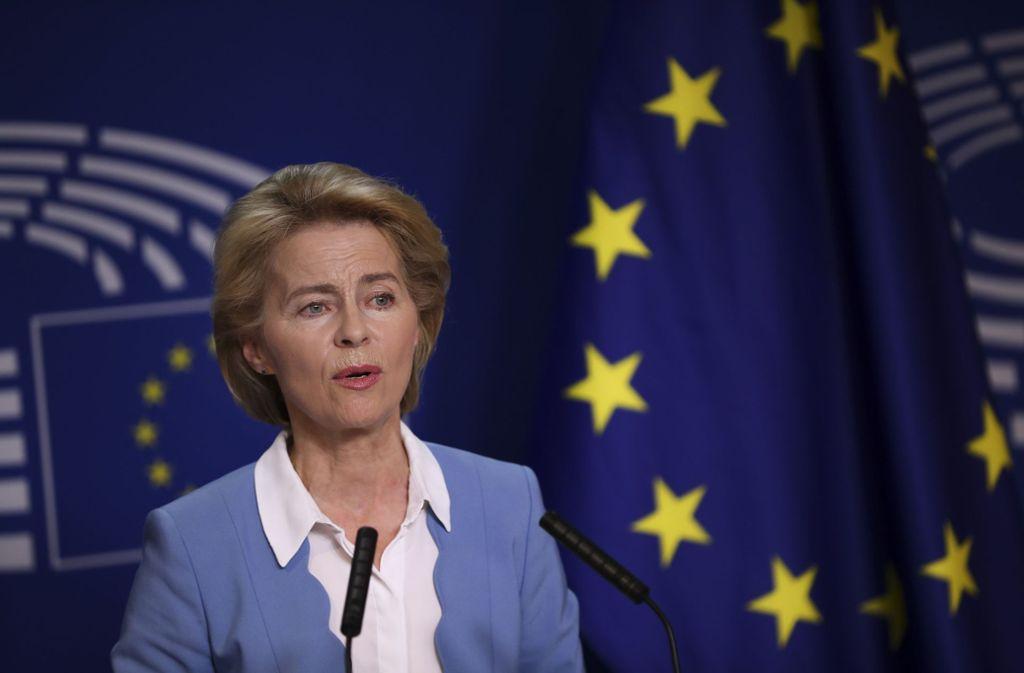 Ursula von der Leyen stellte sich am Dienstagabend in Brüssel zur Wahl – und wurde gewählt. Foto: AP/Francisco Seco