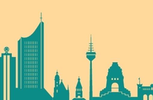 Der Uni-Riese (links) und das Völkerschlachtdenkmal (zweite von rechts) sind nur zwei von vielen Sehenswürdigkeiten in Leipzig. Foto: Jana Evers