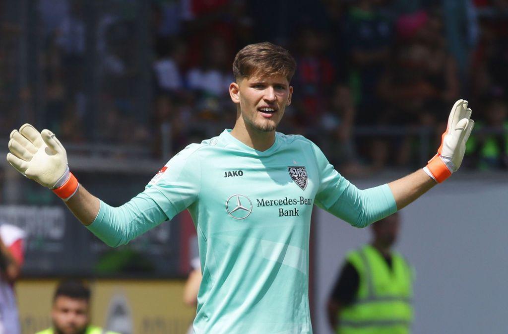 Gregor Kobel fällt für das Pokalspiel bei Hansa Rostock verletzt aus. Foto: Pressefoto Baumann