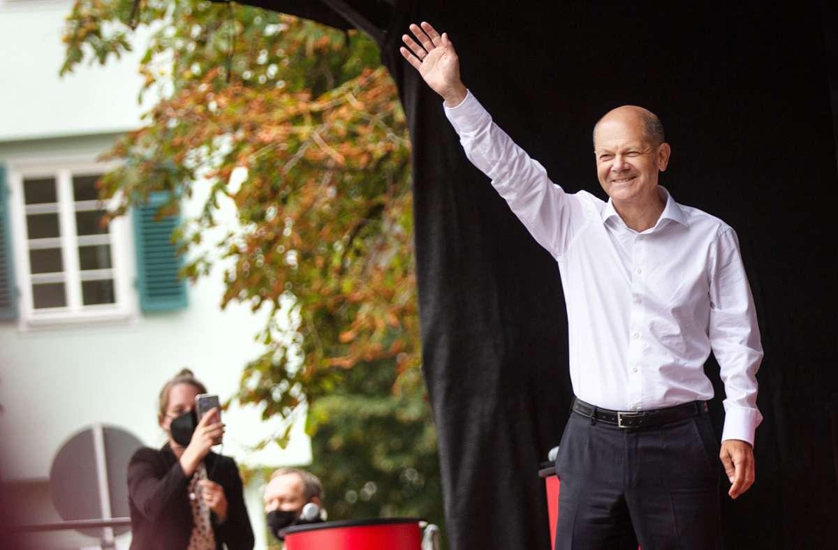 Olaf Scholz blickt optimistisch in Richtung Sonntag. Foto: Ines Rudel/Ines Rudel
