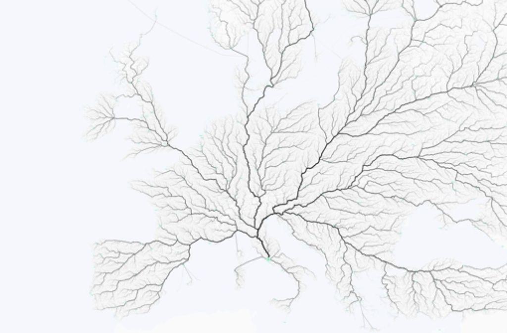 """Stimmt die Redensart """"Alle Wege führen nach Rom"""" eigentlich? Der Frage sind Philipp Schmitt, Raphel Reimann und Benedikt Groß vom """"moovel lab"""" spontan nachgegangen. Herausgekommen sind wunderhübsche Kartenwerke von Europa. Foto: moovel"""