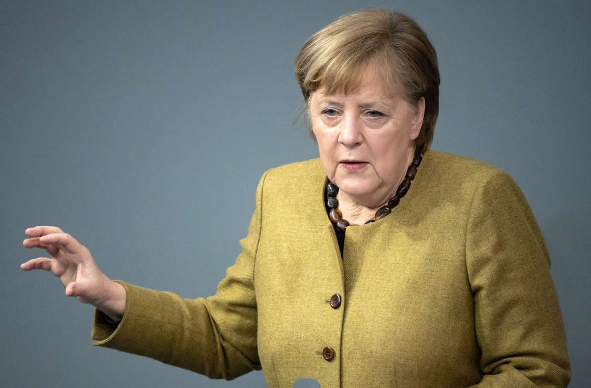 Angela Merkel plädierte angesichts der Sorgen vor einer dritten Corona-Welle  für eine vorsichtige Strategie. (Archivbild) Foto: dpa/Bernd von Jutrczenka