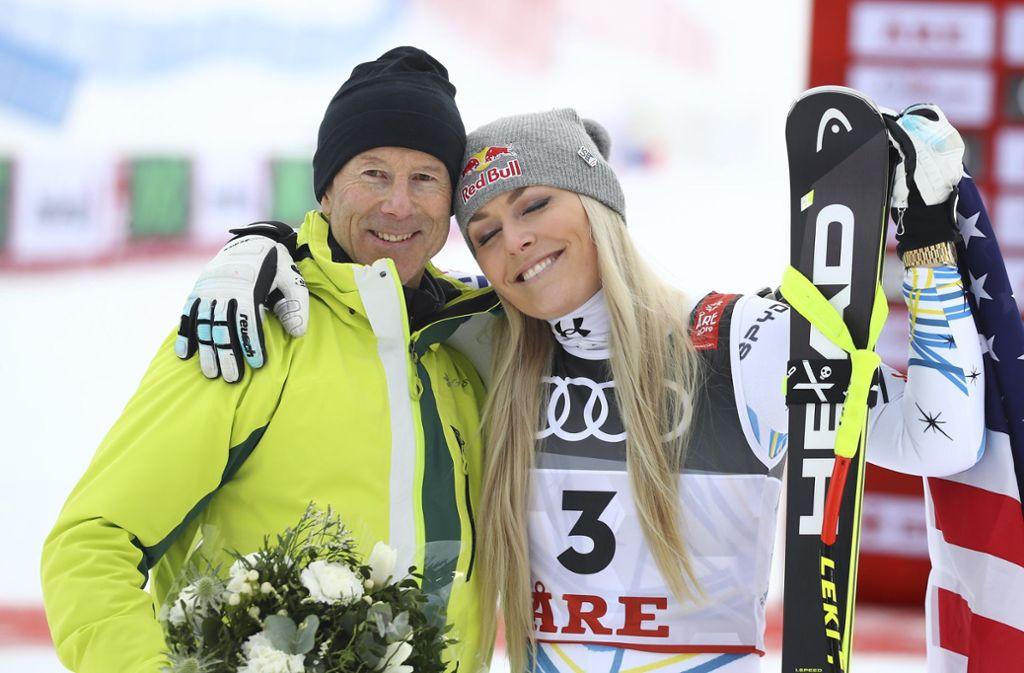 Ski-Legenden bei der WM unter sich: Ingemar Stenmark und Lindsey Vonn Foto: AP