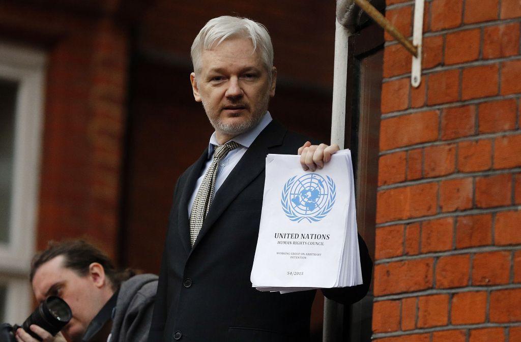Ein Foto des Wikileaks-Gründers aus dem Jahr 2016. Foto: AP