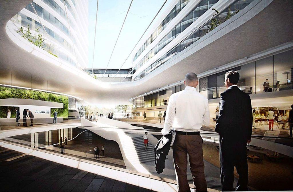 So soll die neue Allianz-Zentrale mal aussehen. Der Entwurf stammt vom Dortmunder Büro Gerber Architekten. Foto: Visualisierung: Allianz/z