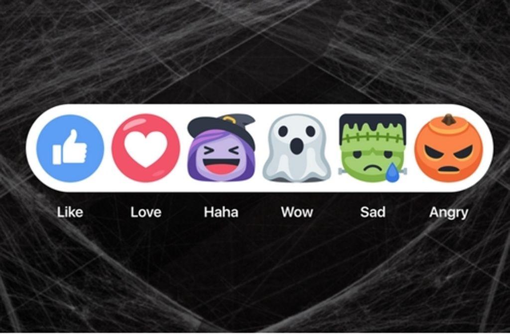 Der Kürbis ist sauer, das Gespenst erstaunt: Die neuen Facebook-Buttons zu Halloween Foto: Screenshot/Facebook