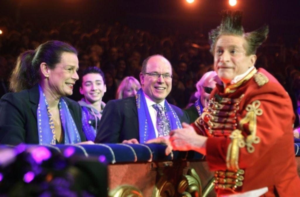 Prinzessin Stéphanie und Fürst Albert von Monaco beim Zirkusfestival von Monte Carlo. Foto: dpa