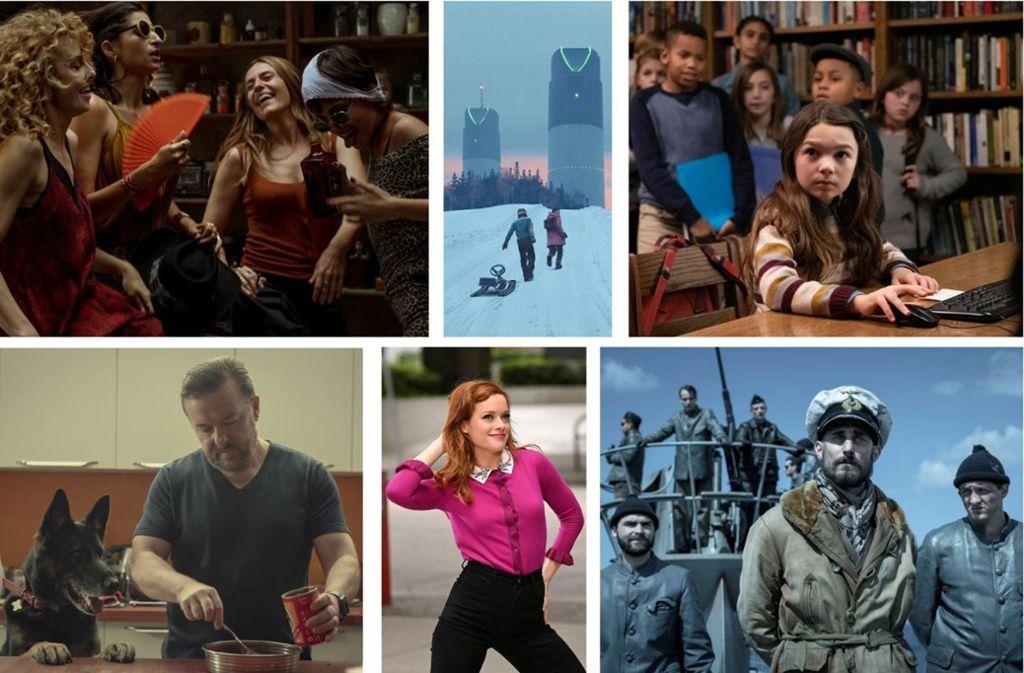 """Neuer Serienstoff im April: """"Haus des Geldes"""", """"Tales from the Loop"""", """"Home before Dark"""", """"Das Boot"""", """"Zoey's Extraordinary Playlist"""" und """"After Life"""" (von oben links im Uhrzeigersinn). Foto: Sky/, Netflix, Apple TV+, Amazon"""