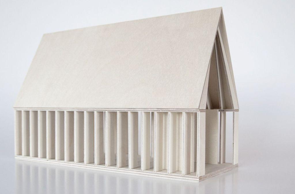 So stellen sich die Architekten die Kapelle aus Holz vor. Foto: Architekturbüro Dietrich/Untertrifaller