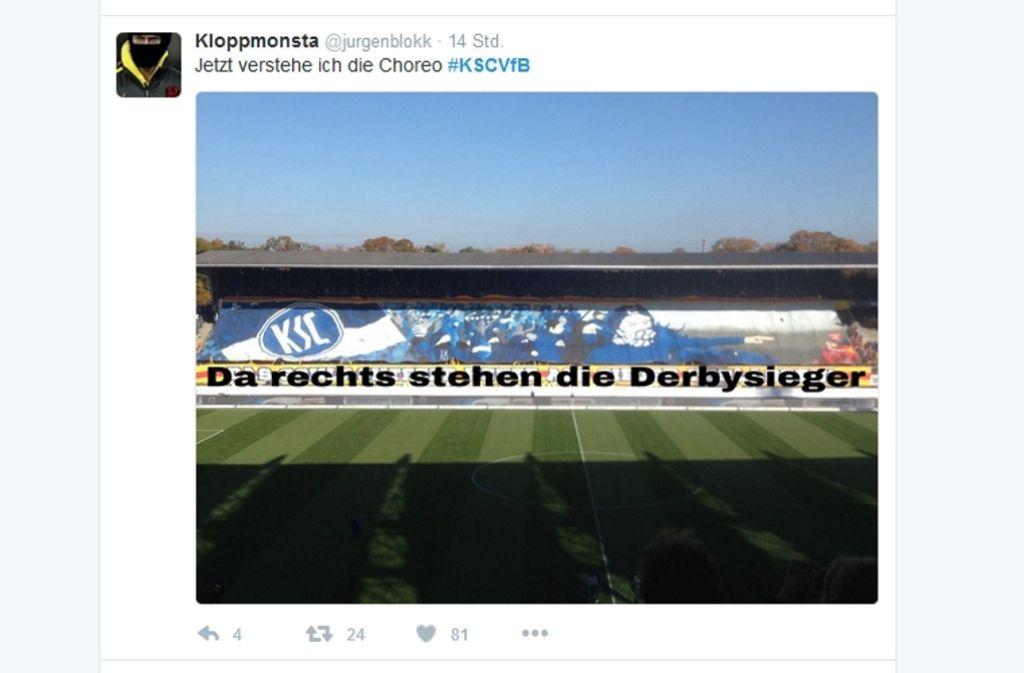 """""""Das Schlachtfeld heute als Sieger verlassen"""", hätte eigentlich auf dem Banner stehen sollen. Nach dem Sieg gestaltete ihn ein VfB-Fan auf Twitter spontan um. Foto: twitter/@jurgenblokk"""