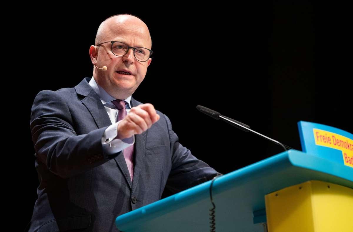 """""""Die FDP im Südwesten ist weiter im Aufwind"""", betonte der Landesvorsitzende Michael Theurer (Archivbild). Foto: dpa/Christoph Schmidt"""