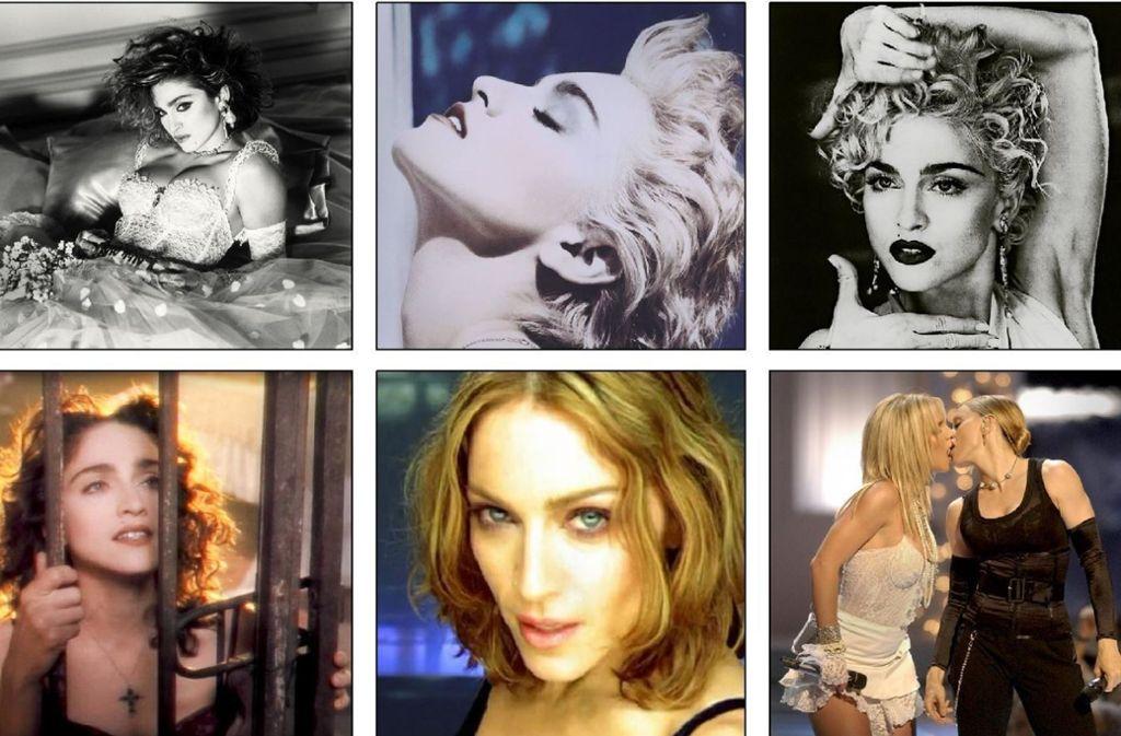 Sechs Episoden aus dem wilden Popleben von Madonna Louise Veronica Ciccone. Weitere Eindrücke aus der ereignisreichen Karriere Madonnas finden Sie in unserer Bildergalerie. Foto: Warner Music, AP