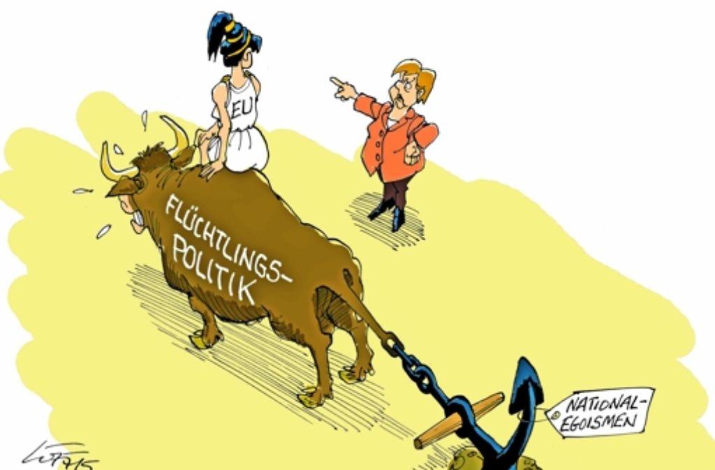 """""""Ich sagte vorwärts"""" – Karikatur aus 2015. Foto: Luff"""