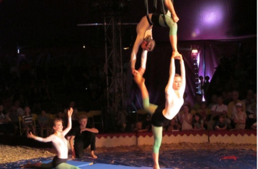 Drei Schülerinnen zeigen Tuchakrobatik im  Circus Calibastra Foto: Malte Klein