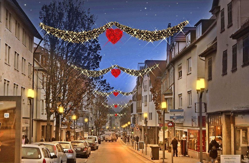 Die nächste Weihnacht kommt bestimmt – und dann könnte die Feuerbacher Einkaufsstraße vielleicht so aussehen. Foto: Illumination