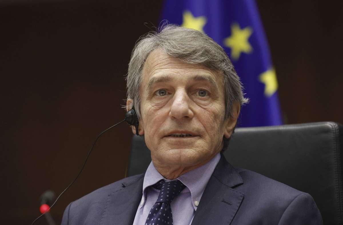 EU-Parlamentspräsident David Sassoli gehört zu den Betroffenen der Strafmaßnahmen. (Archivbild) Foto: AFP/OLIVIER MATTHYS