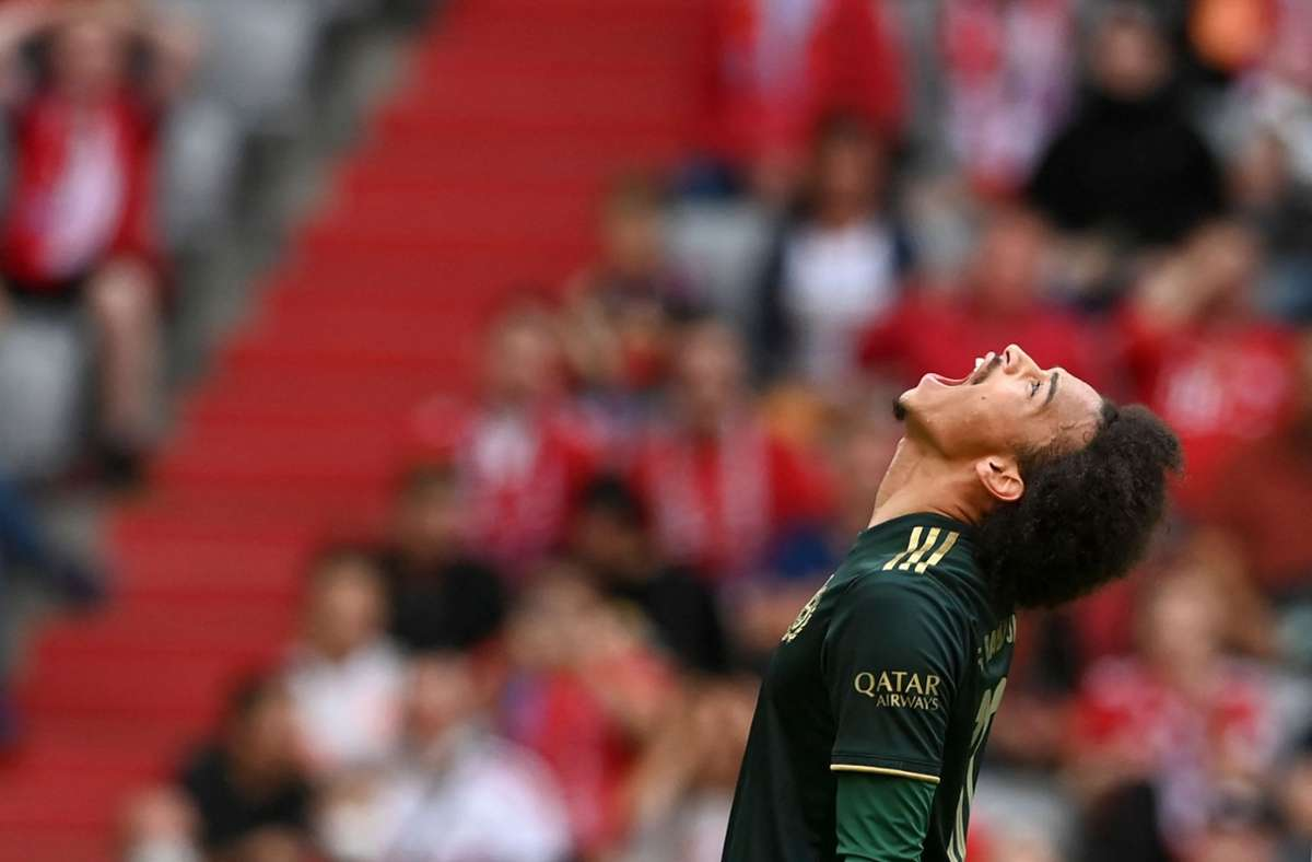 Bayern-Spieler Leroy Sane freut sich über seinen Treffer Foto: AFP/CHRISTOF STACHE