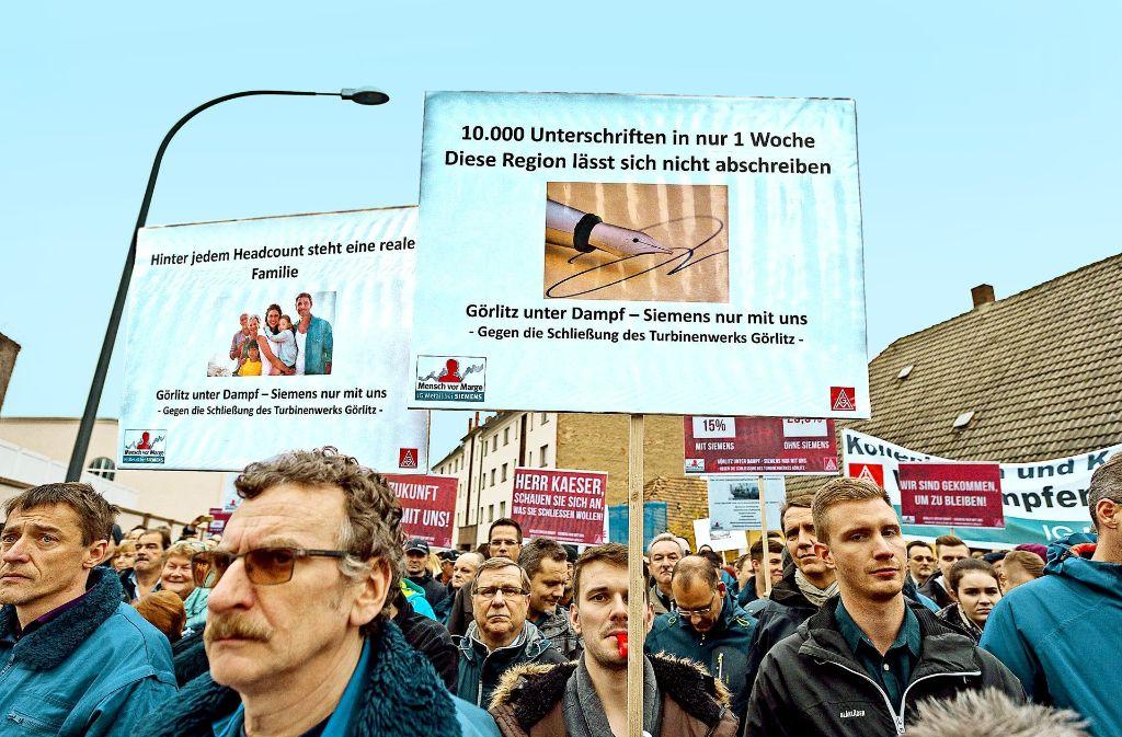 Auch in Görlitz gingen Siemens-Mitarbeiter auf die Straße Foto: dpa