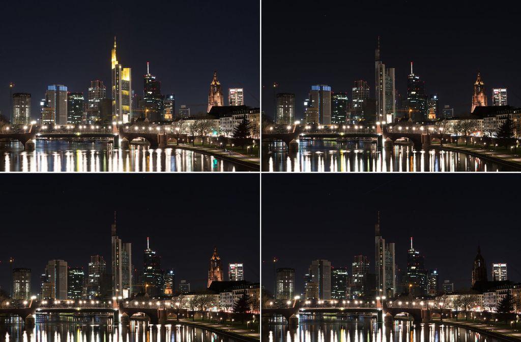 """Zur """"Earth Hour"""" gingen in Metropolen wie Frankfurt (Foto), München, Berlin, Paris oder London auch dieses Jahr die Lichter aus. Foto: dpa"""