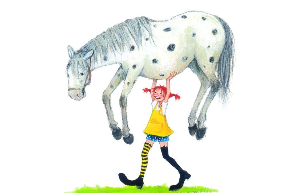 Stark, stärker, am stärksten: Pippi Langstrumpf hebt kurz mal das Pferd von der Terrasse – und begegnet auch Einbrechern, Tierquälern und  Feuersbrünsten ziemlich selbstbewusst. Foto: Oettinger Verlag/Verlag