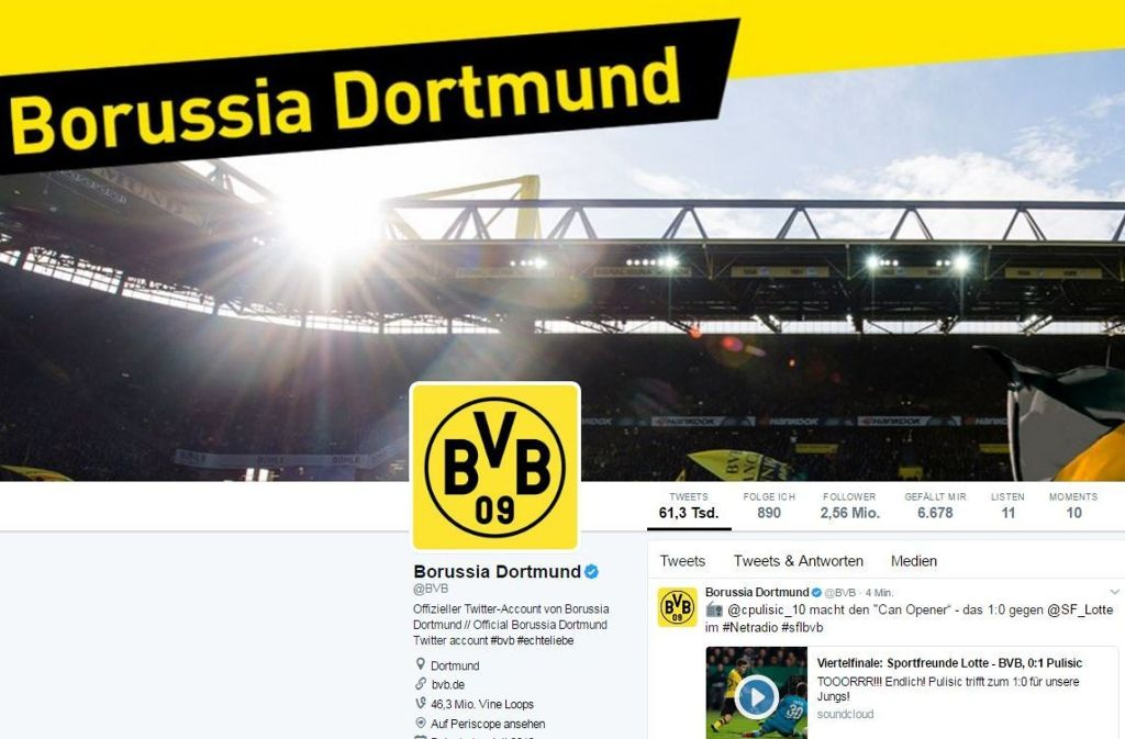 Hacker haben sich Zugang zu Tausenden Twitter-Accounts verschafft – auch der Twitter-Account des BVB fiel den Tätern zum Opfer. Foto: Screenshot Twitter/@BVB
