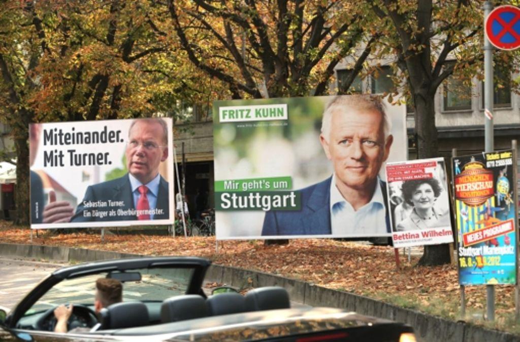 Laut Umfrage scheint es ein Zweikampf zwischen Sebastian Turner (links) und Fritz Kuhn (2. von links) zu werden. Foto: Achim Zweygarth