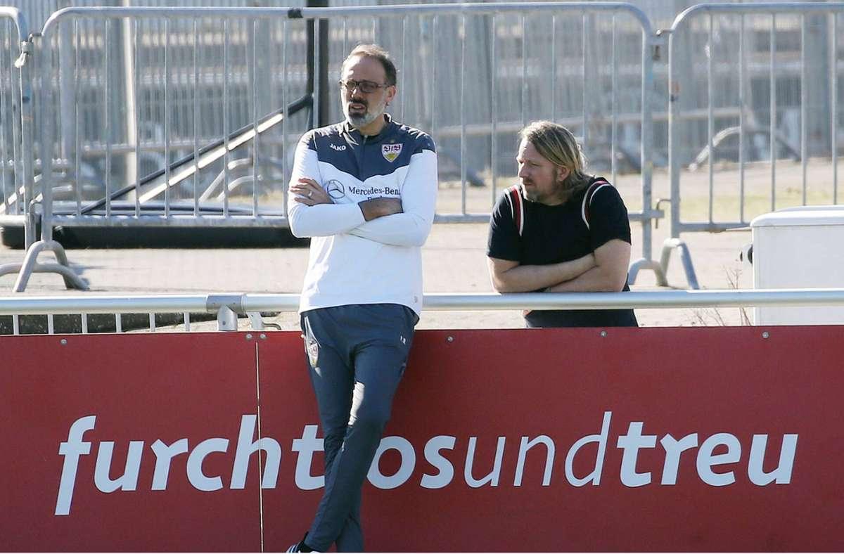 Beim VfB gibt man sich recht entspannt vor dem Liga-Endspurt. Foto: imago images/
