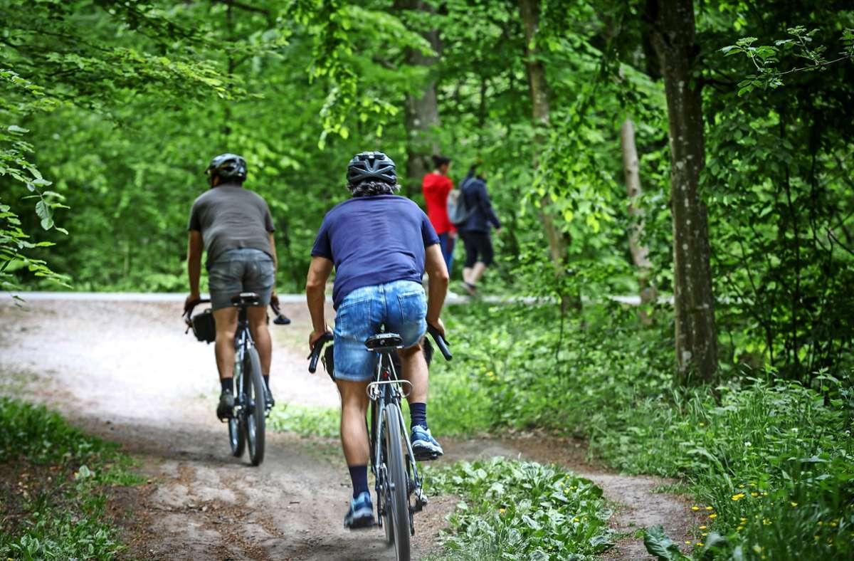 Konkurrenzsituation: Je schmaler die Wege, desto häufiger kommt es zu Konflikten zwischen Fußgängern und Radfahrern. Foto: Lichtgut/Julian Rettig