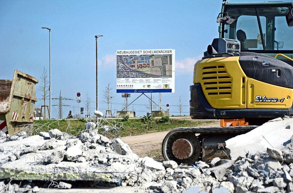 Die ersten Bauarbeiten im Gebiet Schelmenäcker sind bereits im Gange. Foto: Philipp Braitinger